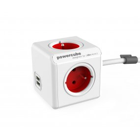 Alargue Powercube de 4 Conexiones Doble USB Schuko 1.5m Red